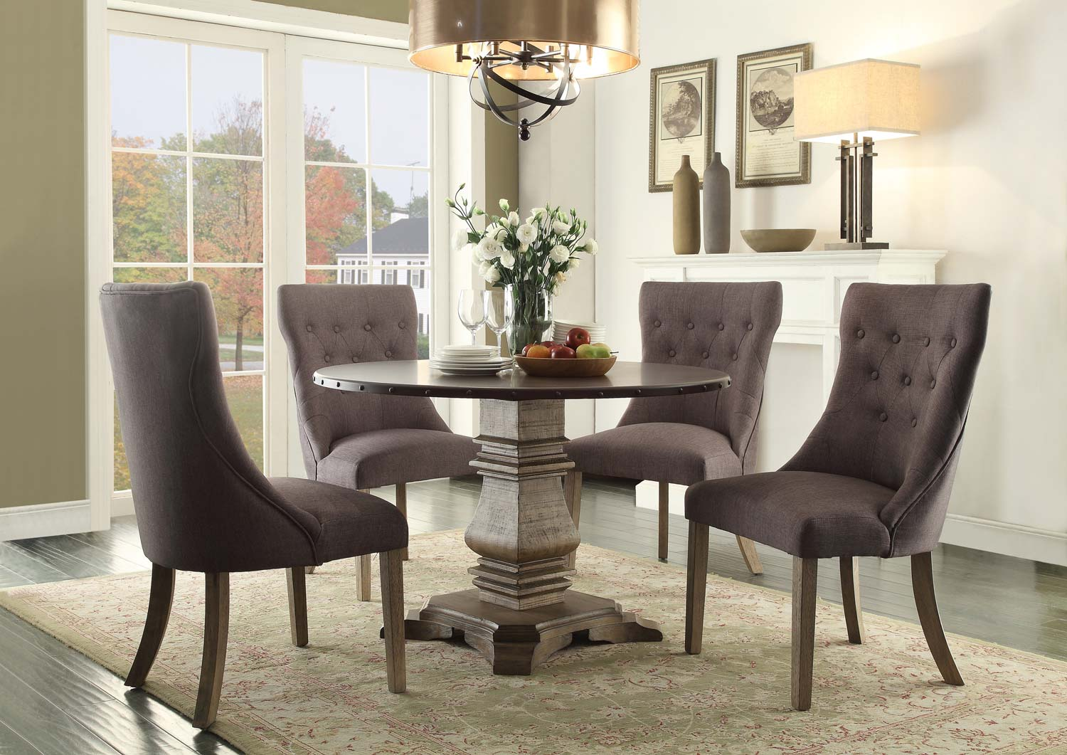 Homelegance Anna Claire 5pc Round Dining Table Set With Side Wing