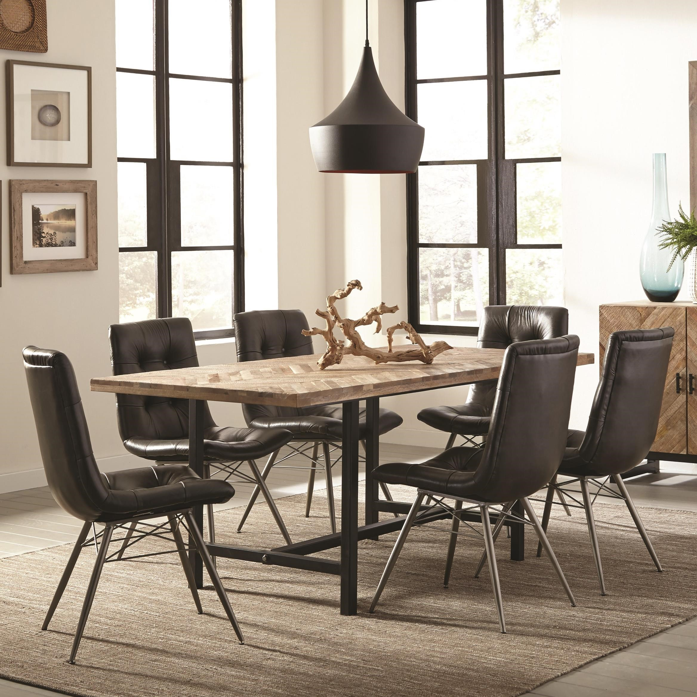 Dining Room Sets Dallas Tx: Coaster Thompson 7pc Natural Mango/Charcoal Dining Table