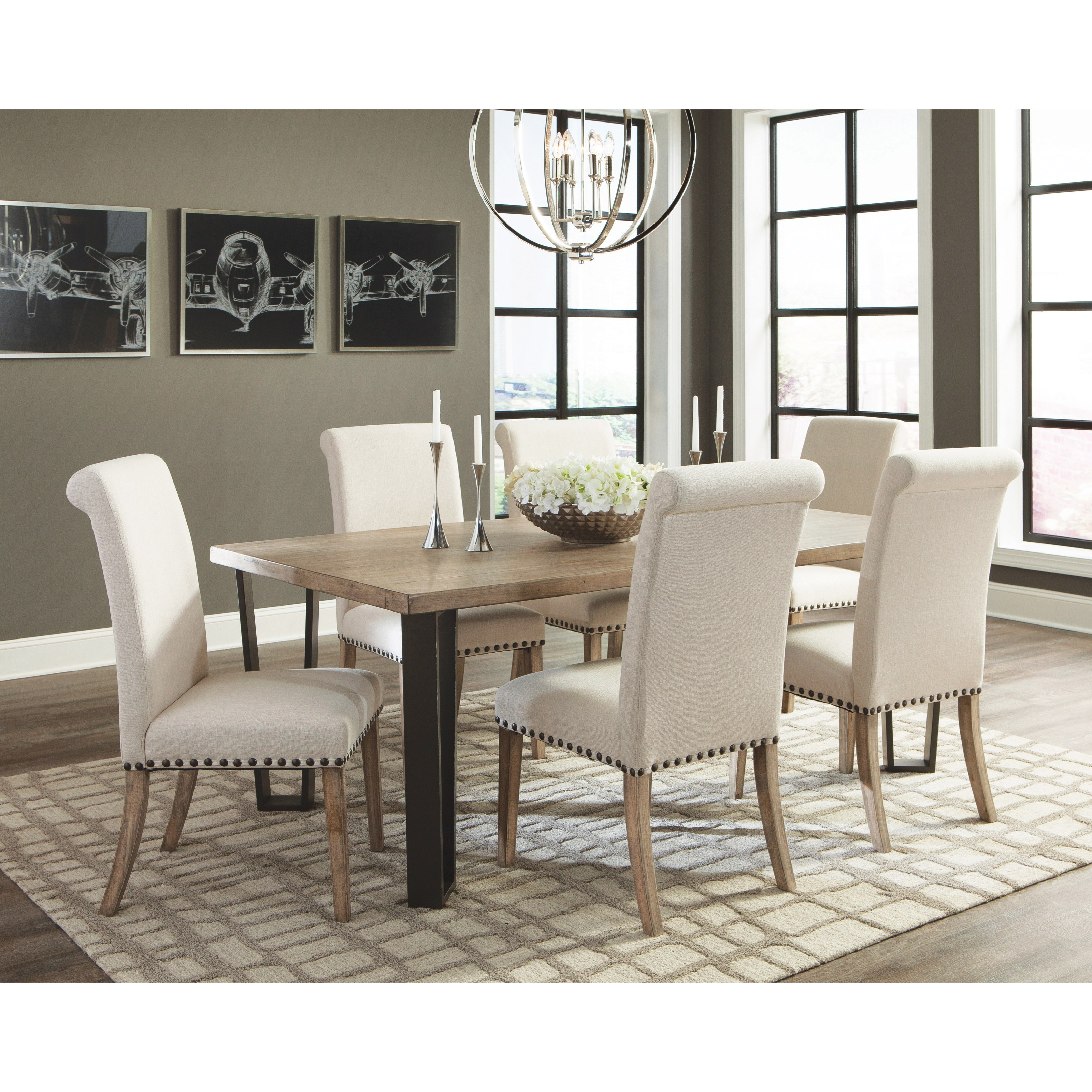 Coaster Taylor 7pc Vintage Rustic Pine Dining Table Set