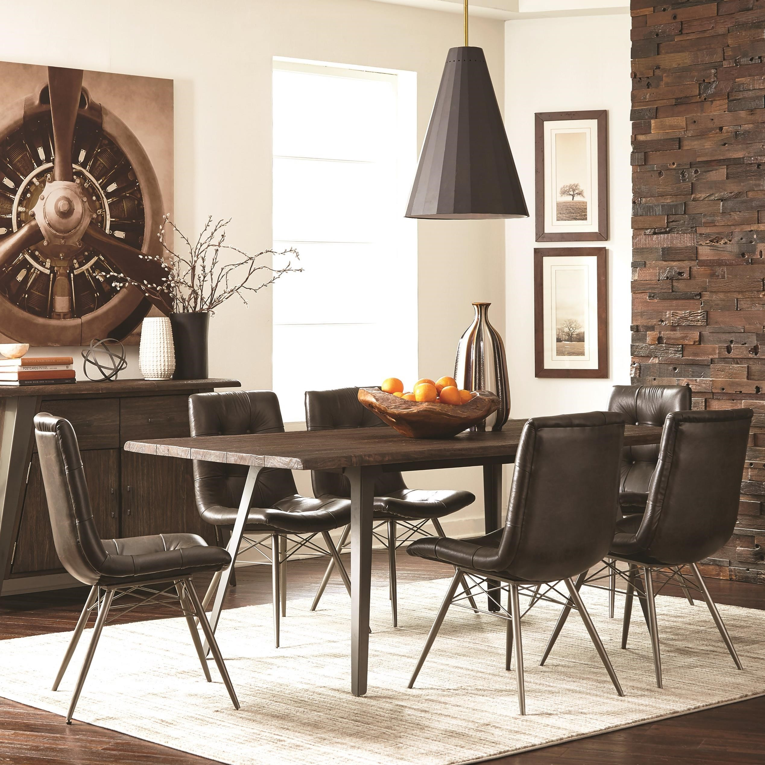 Dining Room Sets Dallas Tx: Coaster Fremont 7pc Rustic Brown Dining Table Set Dallas
