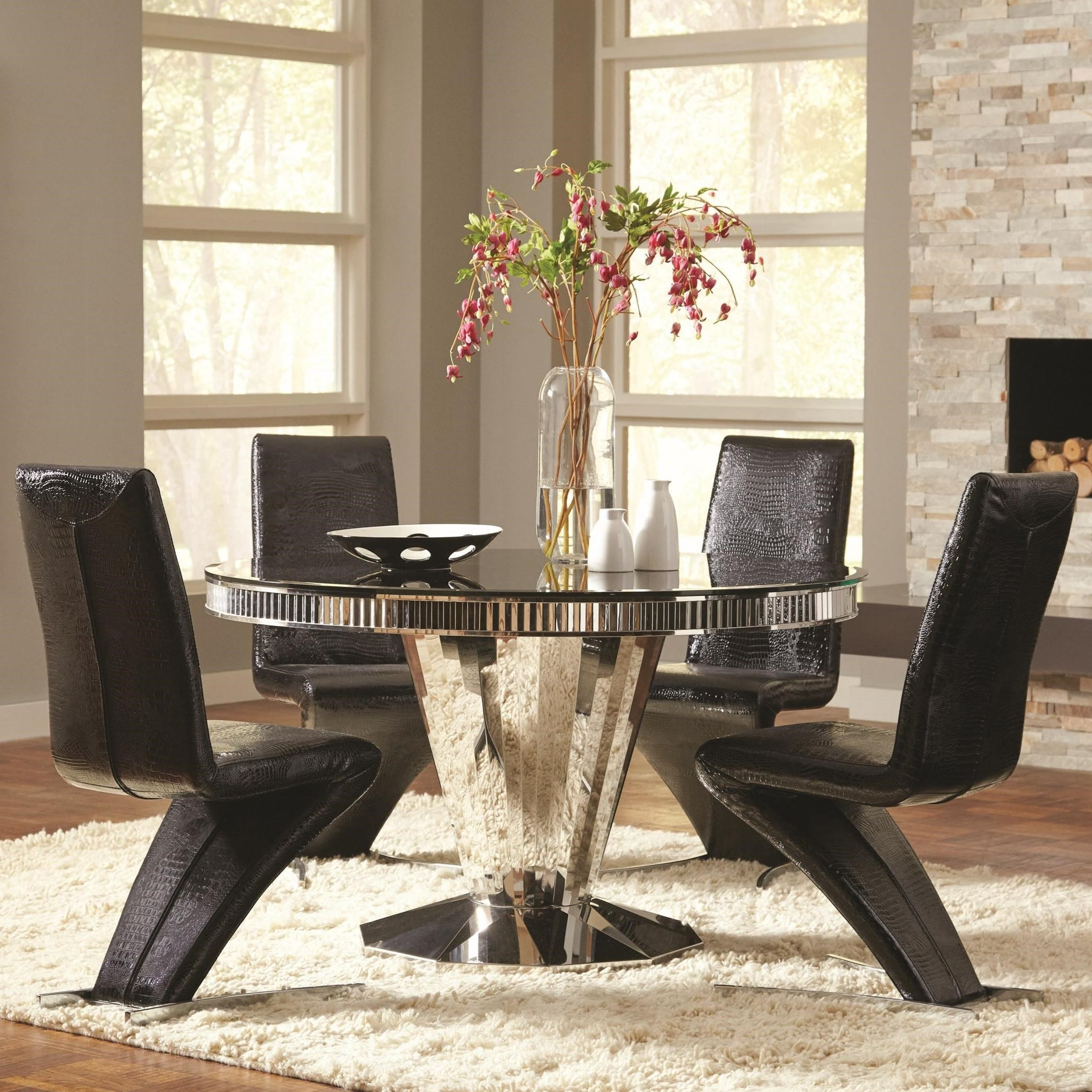 Dining Room Sets Dallas Tx: Coaster Barzini 5pc Black Stainless Steel Dining Table Set