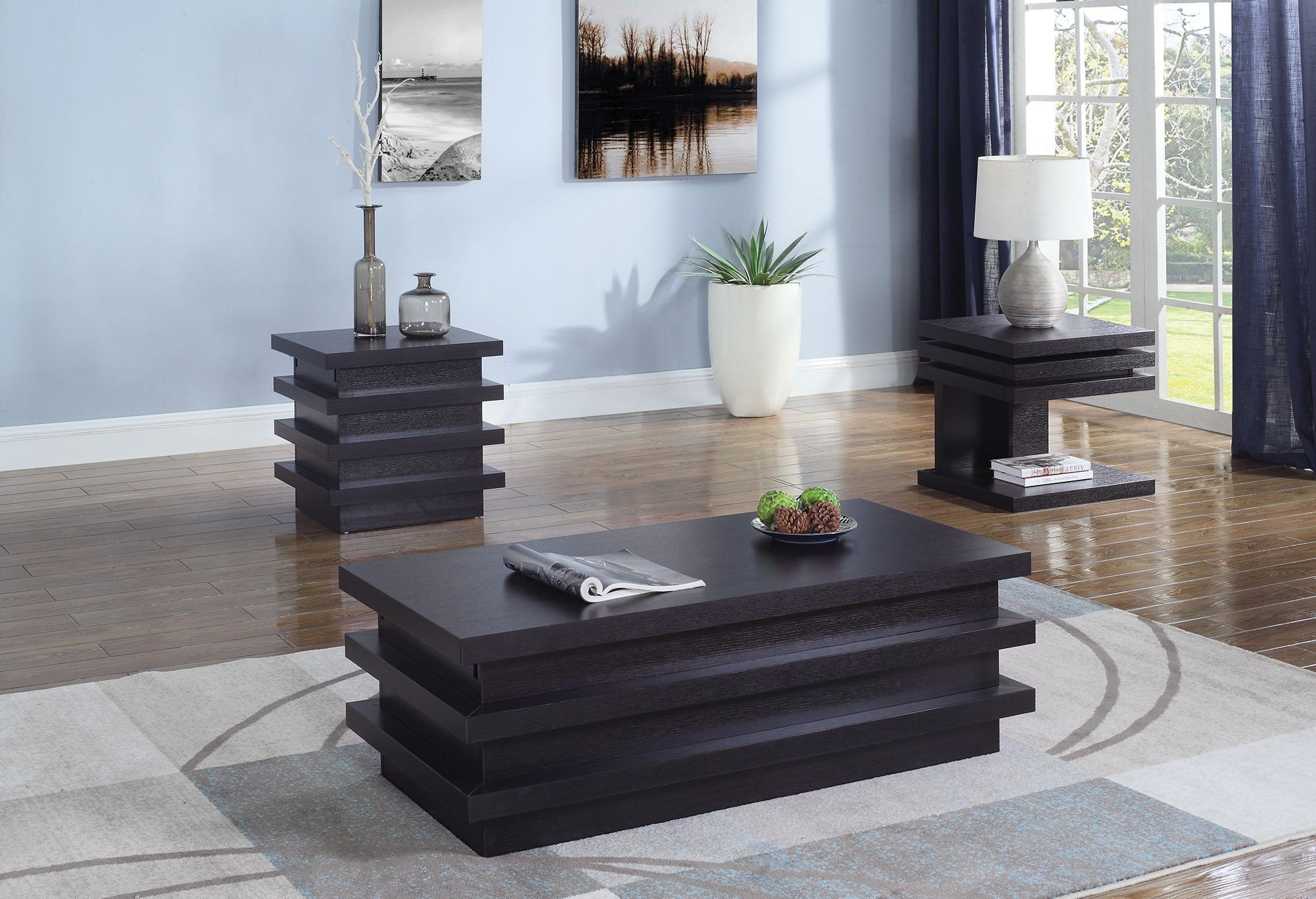 - Coaster Florence 3pc Cappuccino Pull Out Shelf Coffee Table Set
