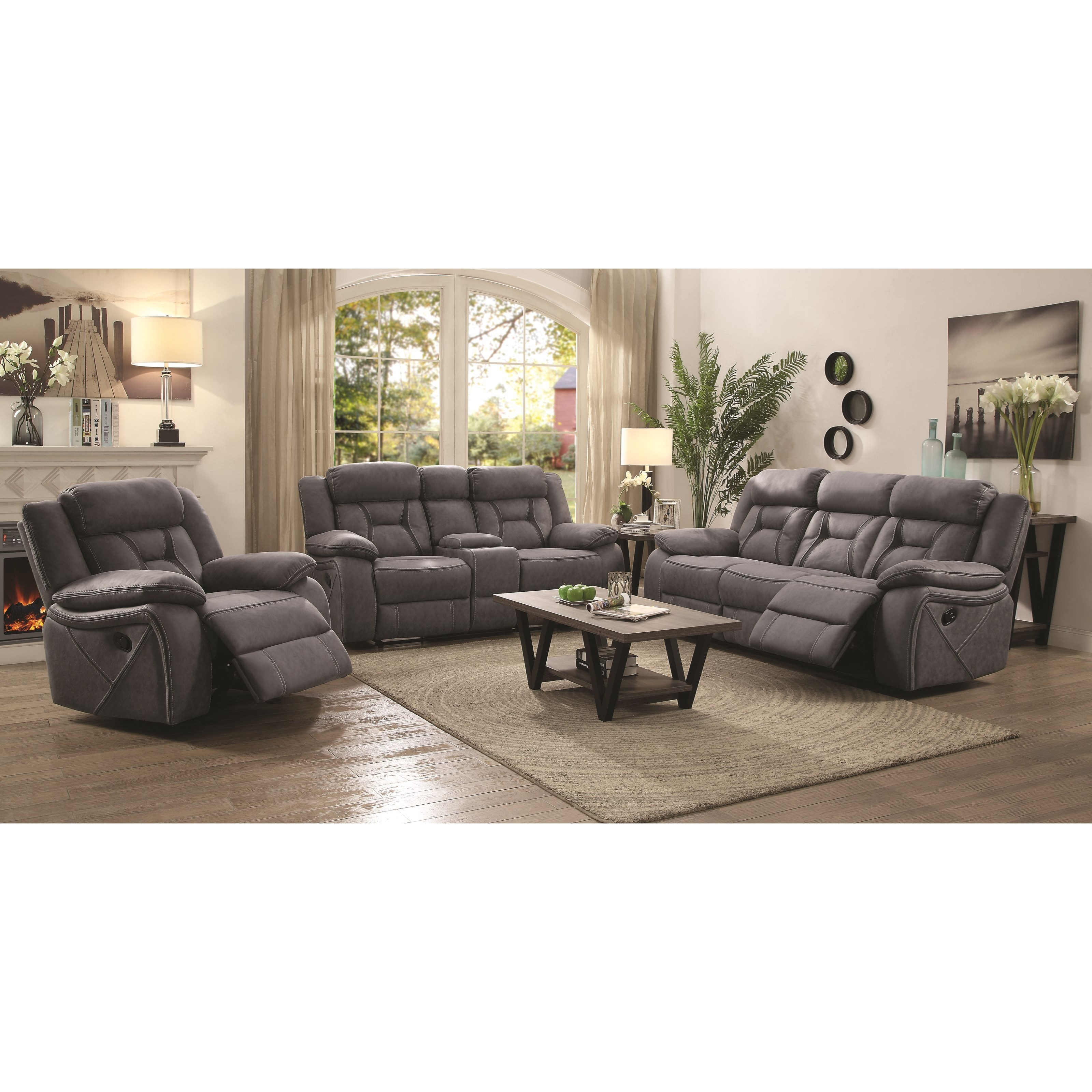 Coaster houston 2pc reclining sofa loveseat set dallas for Living room furniture houston texas