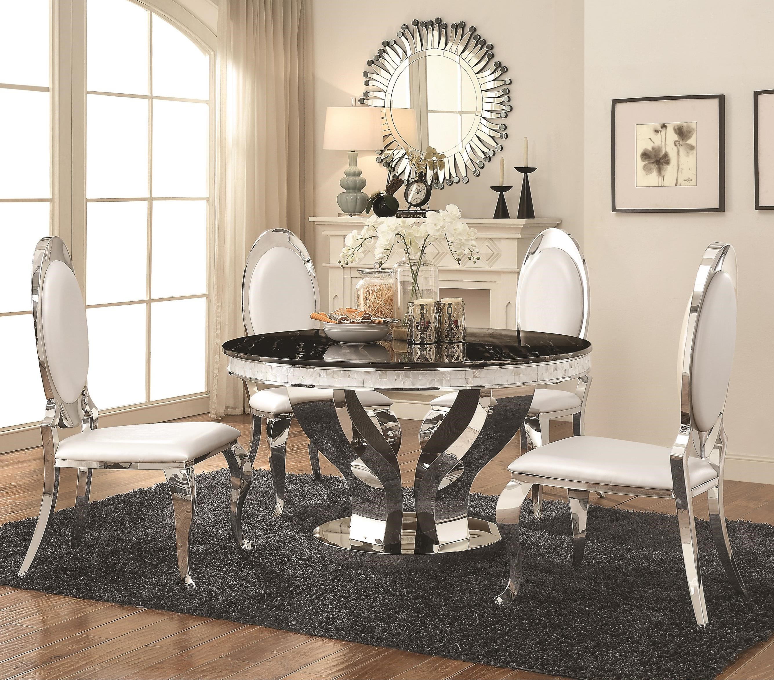 Dining Room Sets Dallas Tx: Coaster Anchorage 5pc Chrome Dining Table Set Dallas TX