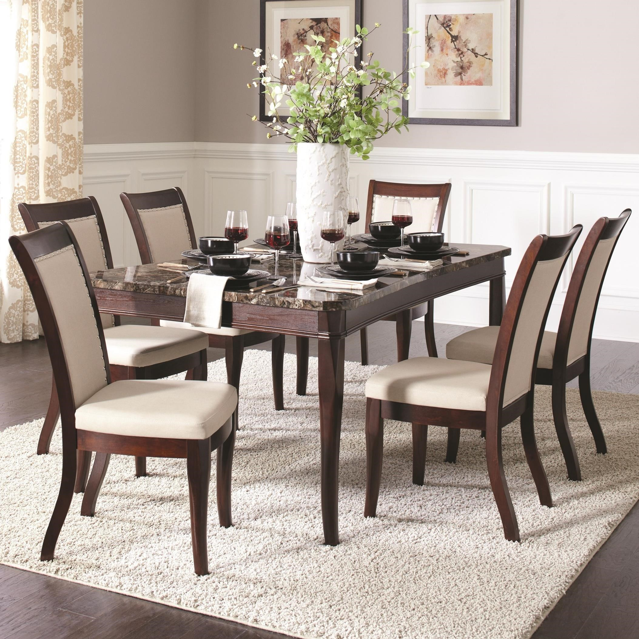 Cornett 7pc Dark Brown Dining Table Set