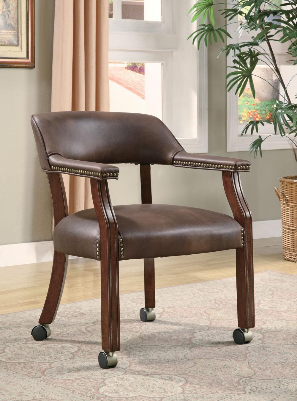 brown captain's chair with casters dallas tx | office chair