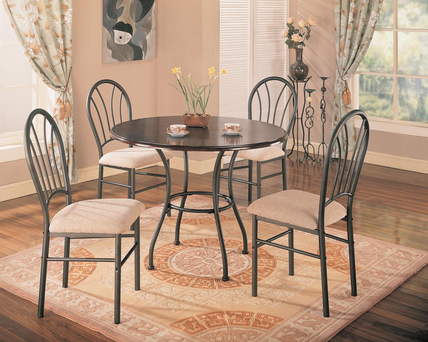 halle 5pc dark brown dining room set with metal base