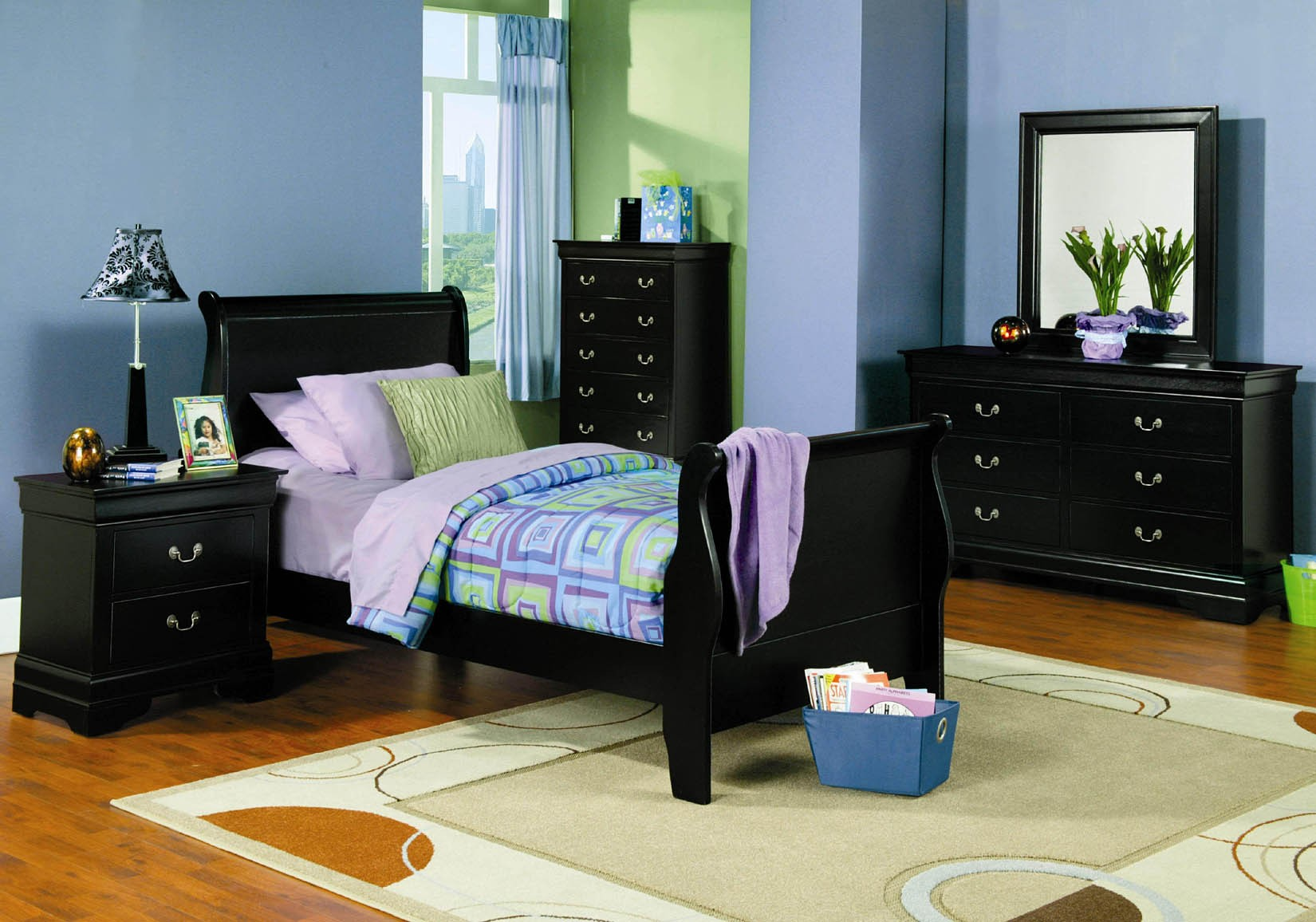 Kids Black Bedroom Furniture bedroom sets lauran black twin size bedroom set newlotsfurniture