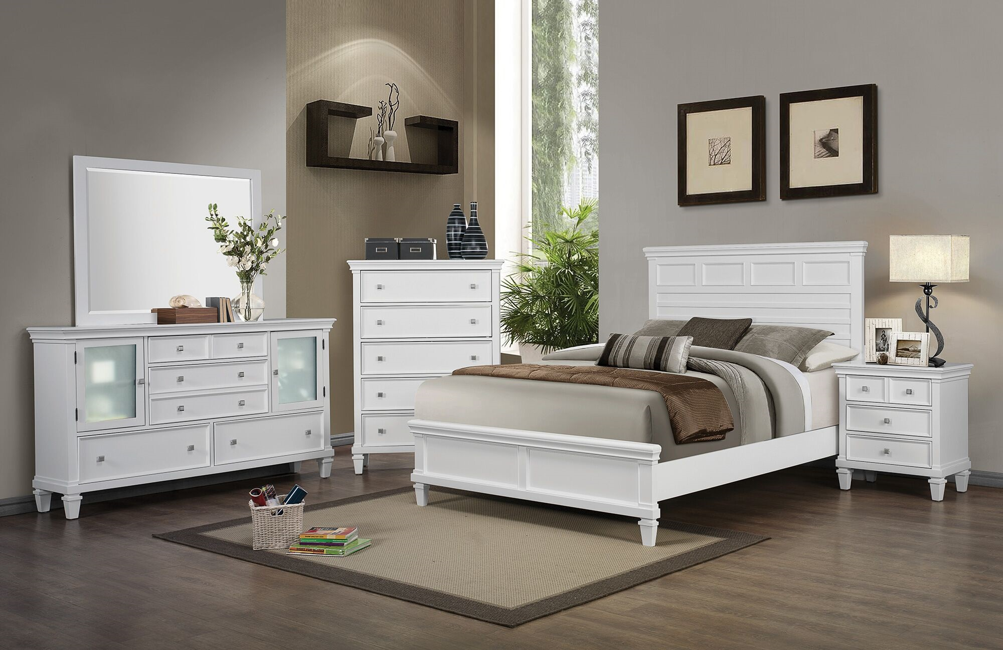 Coaster Sandy Beach White 5pc King Panel Bedroom Group