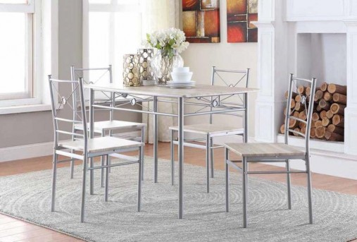 Coaster James Silver 5pc Dining Room Set Available Online in Dallas Fort Worth Texas