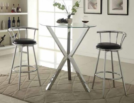 Coaster Saim Brak X-Shaped Chrome Pub Height Table Available Online in Dallas Fort Worth Texas