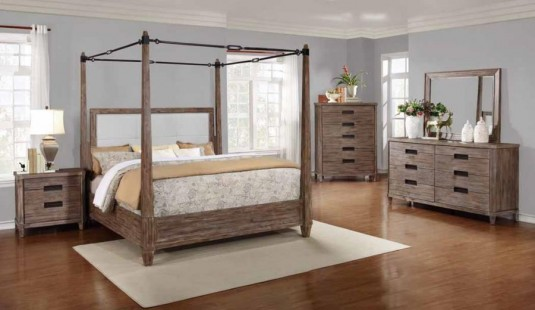 Coaster Madeleine Smoky Acacia Cal King Canopy Bed Available Online in Dallas Fort Worth Texas