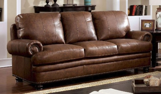 FOA Furniture Of America Rheinhardt Leather Sofa Available Online in Dallas Fort Worth Texas