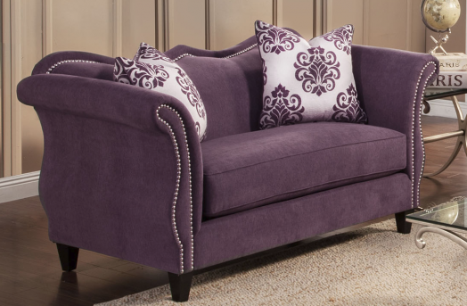 FOA Furniture Of America Zaffiro Lavender Loveseat Available Online in Dallas Fort Worth Texas