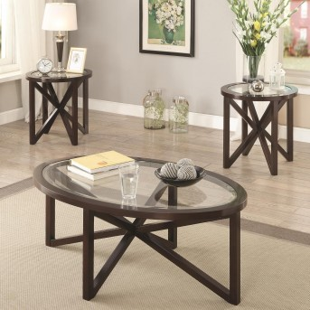 Mogan 3pc Cappuccino Accent Table Set Available Online in Dallas Fort Worth Texas