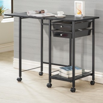 Coaster Razor Black Folding Desk with Caster Available Online in Dallas Fort Worth Texas