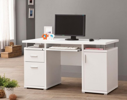 Coaster Tarrick White Computer Desk with 2 Drawers & Cabinet Available Online in Dallas Fort Worth Texas