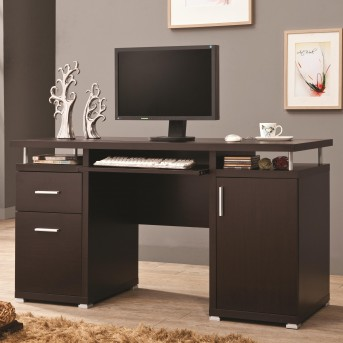 Coaster Tarrick Cappuccino Computer Desk with 2 Drawers & Cabinet Available Online in Dallas Fort Worth Texas