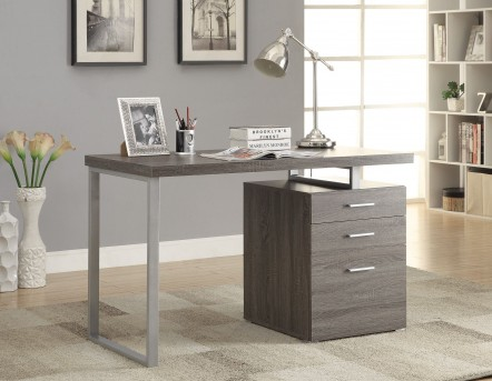Coaster Yvette Grey Writing Desk with File Drawer and Reversible Set-Up Available Online in Dallas Fort Worth Texas