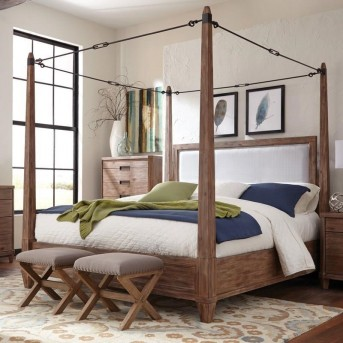 Coaster Madeleine Smoky Acacia Queen Canopy Bed Available Online in Dallas Fort Worth Texas