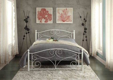 Homelegance Pallina White Full Metal Platform Bed Available Online in Dallas Fort Worth Texas