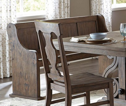 Homelegance Toulon Dark Oak Bench with Curved Arm Available Online in Dallas Fort Worth Texas