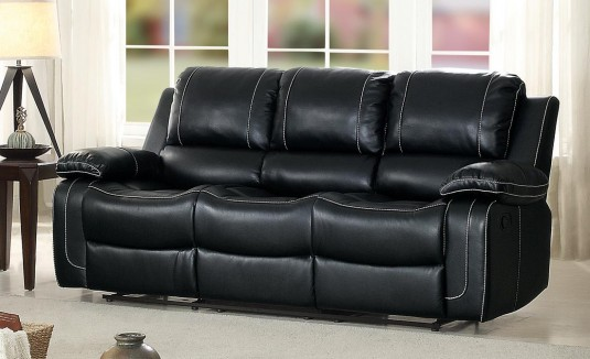 Homelegance Oriole Black Double Reclining Sofa with Center Drop-Down Cup Holder Available Online in Dallas Fort Worth Texas