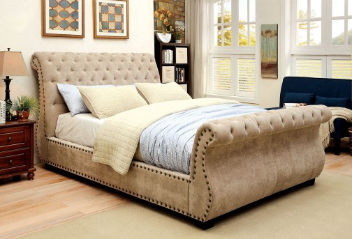 FOA Furniture Of America Noemi King Upholsterd Sleigh Bed Available Online in Dallas Fort Worth Texas