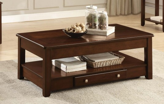Homelegance Ballwin Deep Cherry Lift Top Coffee Table Available Online in Dallas Fort Worth Texas
