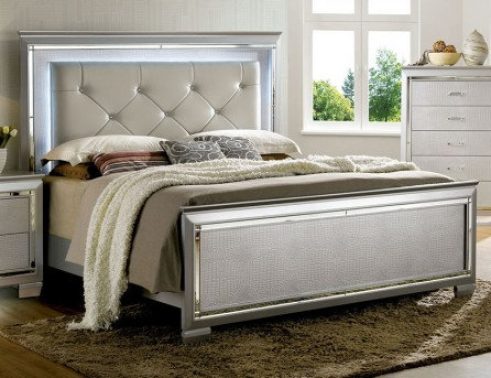 FOA Furniture Of America Bellanova Silver Queen Bed Available Online in Dallas Fort Worth Texas