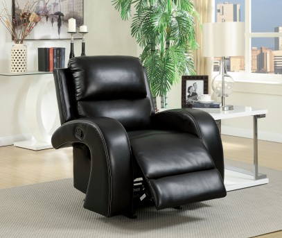 FOA Furniture Of America Odette Black Recliner Available Online in Dallas Fort Worth Texas