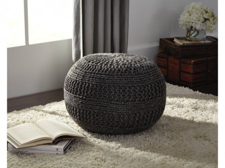 Ashley Benedict Charcoal Pouf Available Online in Dallas Fort Worth Texas