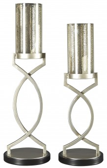 Ashley Odele Silver Candle Holder Set of 2 Available Online in Dallas Fort Worth Texas