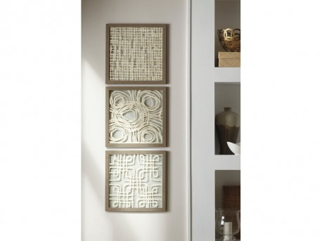 Ashley Odella Cream & Taupe Wall Decor Set of 3 Available Online in Dallas Fort Worth Texas