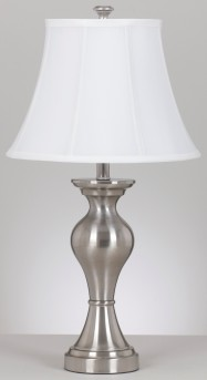 Ashley Rishona Brushed Silver Metal Table Lamp Set of 2 Available Online in Dallas Fort Worth Texas