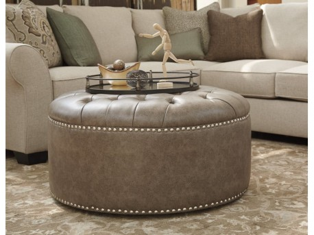 Ashley Wilcot Linen Oversized Accent Ottoman Available Online in Dallas Fort Worth Texas