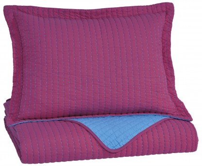 Ashley Dansby Magenta and Aqua Twin Coverlet Set Available Online in Dallas Fort Worth Texas