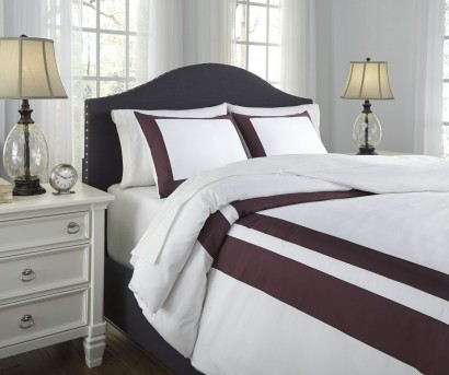 Ashley Daruka Plum Queen Duvet Cover Set Available Online in Dallas Fort Worth Texas
