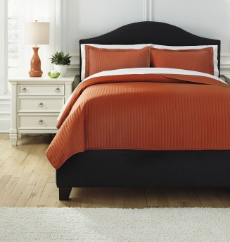 Ashley Raleda Orange King Coverlet Set Available Online in Dallas Fort Worth Texas