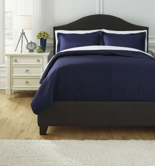 Ashley Raleda Navy King Coverlet Set Available Online in Dallas Fort Worth Texas