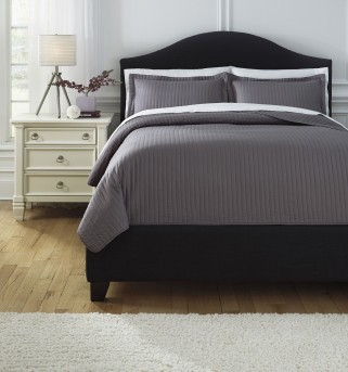Ashley Raleda Gray King Coverlet Set Available Online in Dallas Fort Worth Texas