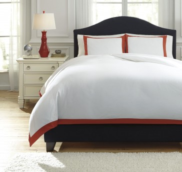 Ashley Ransik Pike Coral Queen Duvet Cover Set Available Online in Dallas Fort Worth Texas