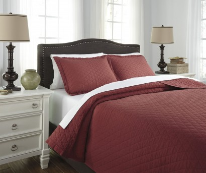 Ashley Alecio Red King Quilt Set Available Online in Dallas Fort Worth Texas