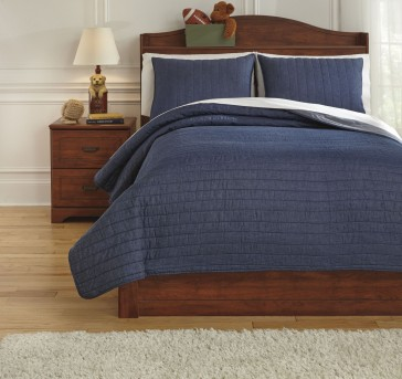 Ashley Capella Denim Full Quilt Set Available Online in Dallas Fort Worth Texas