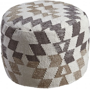 Ashley Abraham White and Brown Pouf Available Online in Dallas Fort Worth Texas