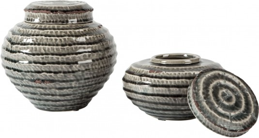 Ashley Devonee Antique Gray Jar Set of 2 Available Online in Dallas Fort Worth Texas