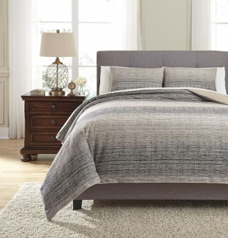Ashley Arturo Natural & Charcoal King Duvet Cover Set Available Online in Dallas Fort Worth Texas