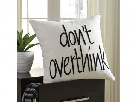 Ashley Don't Overthink White Pillow Available Online in Dallas Fort Worth Texas