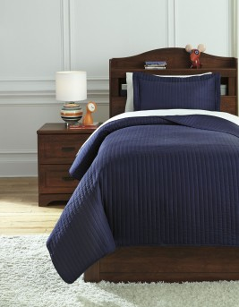 Ashley Raleda Navy Twin Coverlet Set Available Online in Dallas Fort Worth Texas