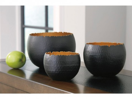 Ashley Claudine Black & Gold Bowl Set of 3 Available Online in Dallas Fort Worth Texas